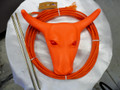 RED EYE Jr Steer Head Roping Practice Set w/ Waxed Nylon Rope BLAZE ORANGE
