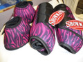 SHOWMAN ZEBRA Print Neoprene Sport Boots & Bell Boots Sz Med. ZEBRA COLORS!