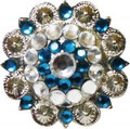 "Western Silver Concho w/ Blue & Clear Rhinestones & Chicago Screw 1½"" Diameter"