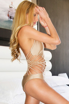 Criss Cross One Piece Swimsuit - Bronze