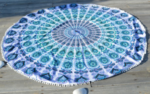 Round Beach Blanket- Aqua Green / White