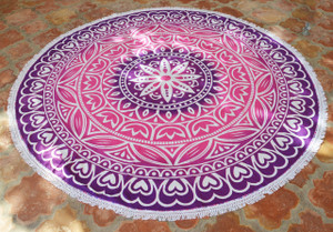 Round Beach Blanket- Pink/ Purple Start Flower