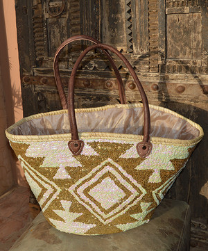 Handmade Moroccan Beach Bag - Gold/White sequined