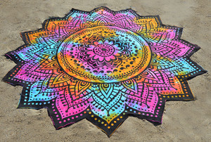 Lotus Flower Beach Blanket- Magenta/Blue/Orange Tie Dye