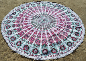 Round Beach Blanket- Magenta/Mint