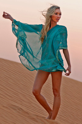 Saree Caftan Cover Up - Sea Green