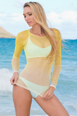 Mesh Rash Guard- Yellow