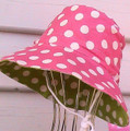 EJ Kids Reversible Sun Hat - Pink & Lime Dot 3-12months