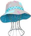 EJ Kids Reversible Sun Hat - Taupe Dance & Aqua Dots 3-12months