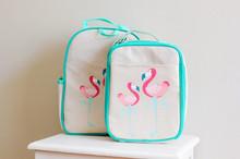 Apple and Mint Lunch Bag - Aqua Flamingo