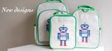 Apple and Mint Lunch Bag - Green Robot