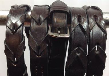 Dark Havana Brown Leather Laced Reins
