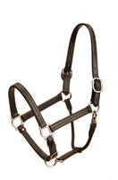 Black Leather Halter, Triple Stitched Adjustable Chin (179)
