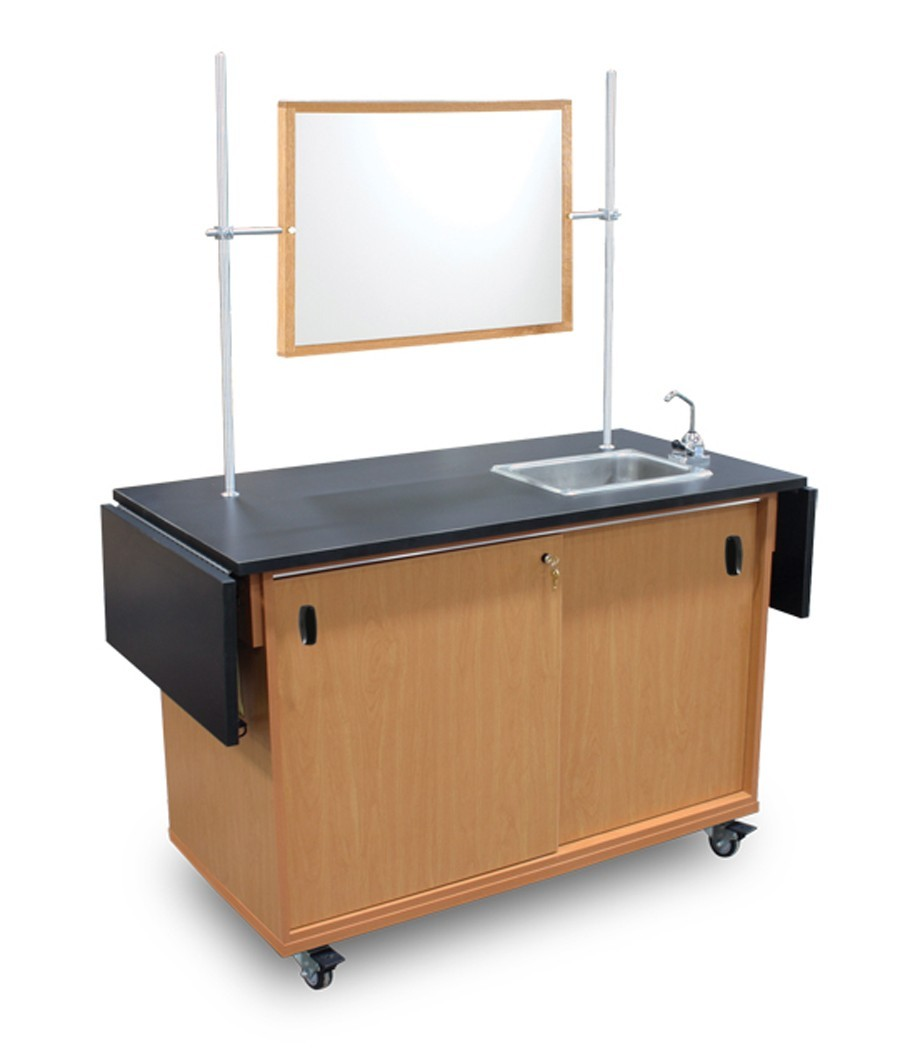 mobile table with storage and demo mirror