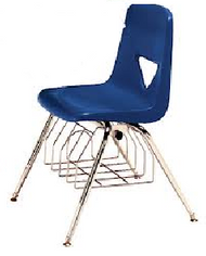Scholar Craft SC127-BR Polypropylene Four Leg School Chair 17.5 inch Seat Height with Book Basket