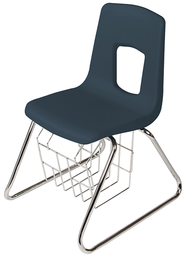 Scholar Craft SC125-SBR Polypropylene Sled Base School Chair 15.5 inch Seat Height with Book Basket