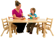 Angeles AB78102011 Natural Wood 30x48x20 Rectangle Toddler Table and 4 ­ 11 Inch chairs