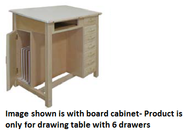 Hann WD 51 Two Section Drawing Table With Bookwell And 6 Drawers 24x24  Split Fixed