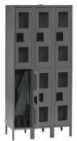 Tennsco CDL-121536-3 Steel Double Tier 3 Wide C Thru Locker with Legs 36x15x78