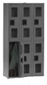 Tennsco CDL-121536-C Steel Double Tier 3 Wide C Thru Locker without Legs 36x15x72