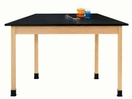 Diversifed TZ7602K30N ChemGuard Trapezoid Science Table with Oak Frame 24x60x30