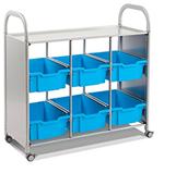 Gratnells SSET1644 Callero Plus Library Cart 6 Deep Trays
