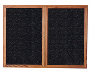 Ghent PN24860TR Enclosed Walnut Finish Two Door Recycled Rubber Tackboard