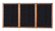 Ghent PN33672TR Enclosed Walnut Finish Three Door Recycled Rubber Tackboard