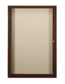 Ghent PN12418F One Door Walnut Finish Enclosed Fabric Tackboard