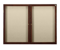 Ghent PN23660F Two Door Walnut Finish Enclosed Fabric Tackboard
