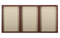 Ghent PN33672F Three Door Walnut Finish Enclosed Fabric Tackboard