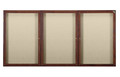 Ghent PN34872F Three Door Walnut Finish Enclosed Fabric Tackboard