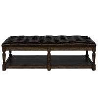 Bensington Tufted Leather Coffee Ottoman