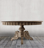 Parisian Vintage Oak Round Dining Room Tables