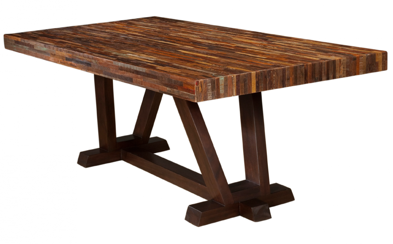 Rustic reclaimed wood bina max dining table 84 zin home for Dinner table wood