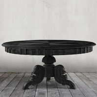 Parisian Vintage Oak Antique Black Round Pedestal Dining Table 55""