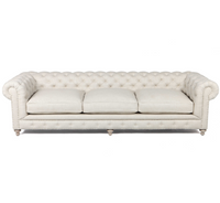 Bespoke Finn Cigar Club Tufted Linen Upholstered Chesterfield Sofa 118""