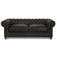 Finn 90-Inch Cigar Club Leather Upholstered Chesterfield Sofa