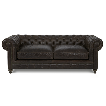 Finn 90 cigar club leather upholstered chesterfield sofa for 90 inch couch