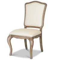 French Weathered Oak Upholstered Camelback Dining Chair