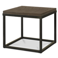French Industrial Oak Wood + Metal Square End Tables