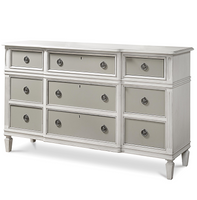 Allison Beach Cottage White 9 Drawer Dresser