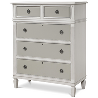Allison Beach Cottage White Tall 5 Drawer Chest