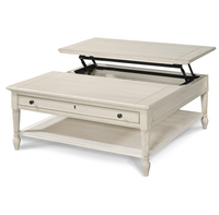 Country-Chic White Wood Square Coffee Table with Lift Top