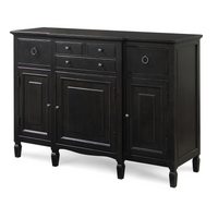 Country-Chic Maple Wood Black Buffet Server Credenza