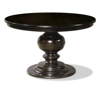 Country-Chic Maple Wood Round Extendable Dining Table - Black