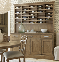 French Modern Light Wood 4 Door Buffet with Vintner's Hutch