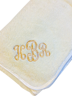 Fattamano Throw Size (Ivory Trim)   Shown here with Gold Metallic Embroidery