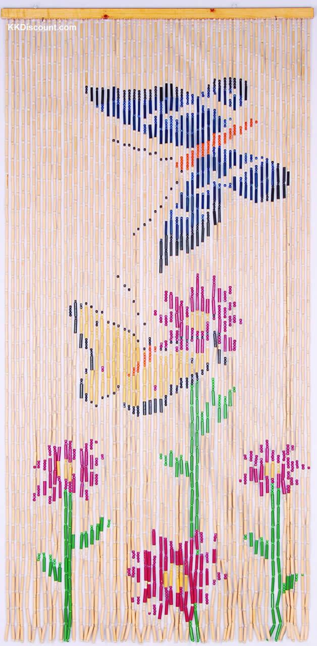 Bamboo Butterflies Beaded Door Curtain K K Discount Store