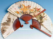 Chinese Paper Hand Fan with Brown Handle